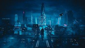 C4D Octane render Cyberpunk city Batman Gotham City CBD Skyscrapers 3D model