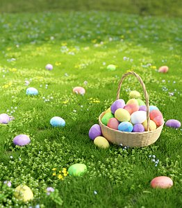 Wicker Basket With Eggs for Easter 3D