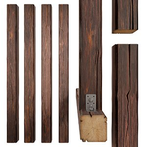 3D model wood beam wooden