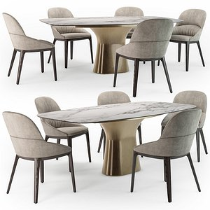 Bontempi Podium table Queen chair 3D