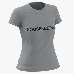3D model Female Crew Neck Worn Gray Housekeeping 02