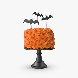 3D Halloween Cake with Bat Topper and Black Base