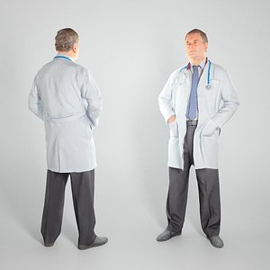 scanned man doctor character 3D model