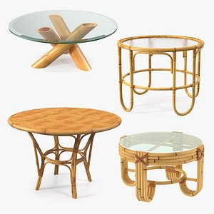 Round Bamboo Rattan Table Collection 2 3D