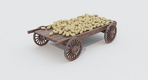 3D Wooden cart and potatoes