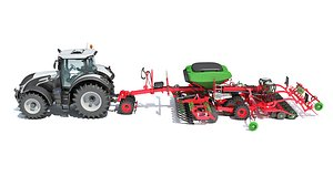3D tractor trailed seed drill model