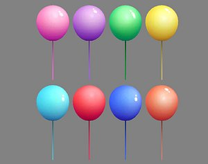 Cartoon balloons - a set of colorful balloons 3D model