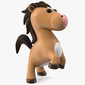 3D Brown Cartoon Horse Jumping Pose model