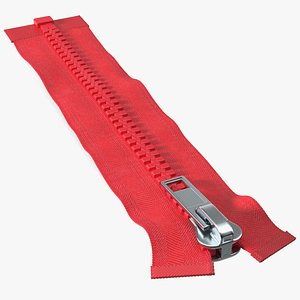 One Sided Plastic Zipper Closed Red 3D model