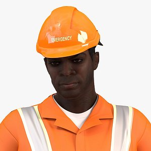 african american rescuer rigged man 3D model