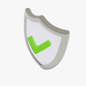 shield green check mark 3D model