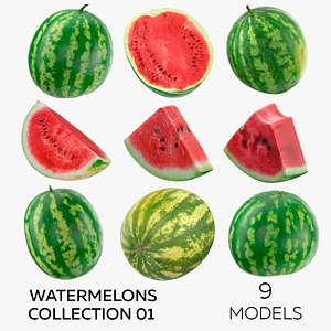 Watermelons Collection 01 - 9 models 3D model
