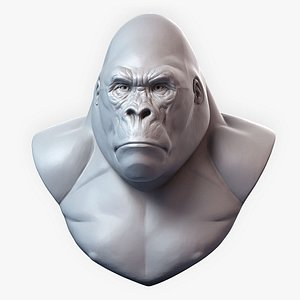 Gorilla Sculpture Bust Animal head 3D model
