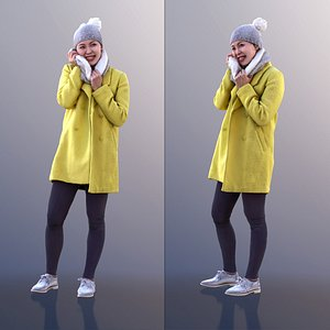 3D 10558 Bao - Woman In Yellow Coat And Scarf Smiling