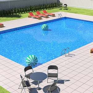Swimming Pool and Garden 3D model