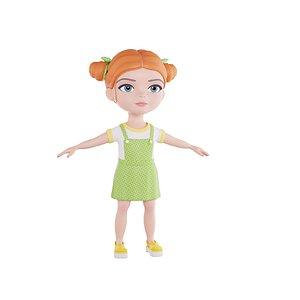 girl hairstyle hair 3D model