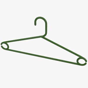 3D model Plastic Clothes Hanger Green