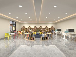 Library Children reading room Xinhua bookstore lounge leisure area industrial style reading hall m 3D model