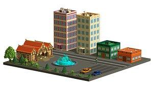 3D Voxel street Assets Low-poly model
