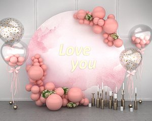wedding balloon lobby flower wall green plants gardening party stage 3D model