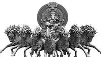 god ganesha horse sitting model