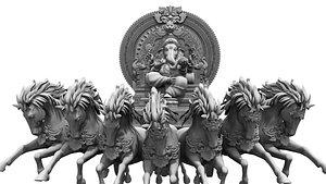 3D god ganesha horse sitting model