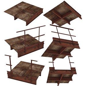 3 Models Industrial Platforms  Stairs 01 Set PSide 3D