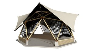 3D model BAMBOO CANOPY GEODESIC TENT BAKED