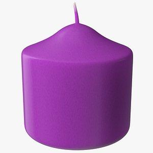 3D Wide Altar Pillar Candle Purple