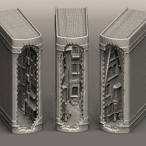 3D Book Nook - Street in the book model