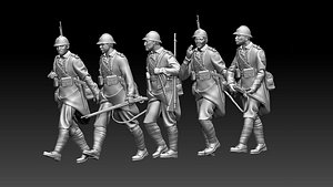 3D French soldier ww2 model