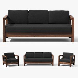 Arca Vintage Brown Sofa Set 3D