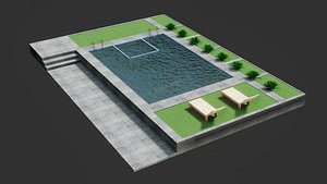 3D Swimming Pool - Low Poly - GameReady model