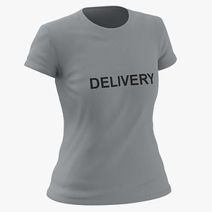 Female Crew Neck Worn Gray Delivery 02 3D model