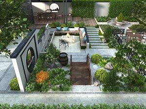 Chinese courtyard into the garden garden villa back garden landscape pavilion 3D model