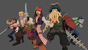 3D model cartoon pirates caribbean -