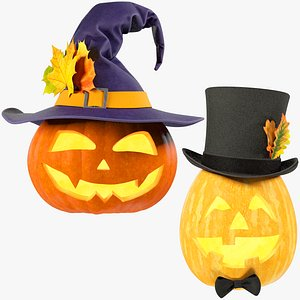 3D Halloween Pumpkins with Hats Collection V2