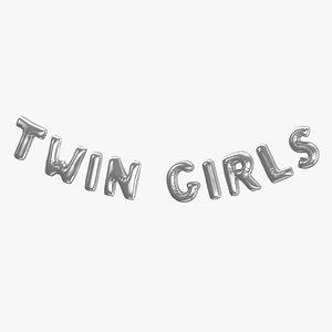 Foil Baloon Words Twin Girls Silver 3D