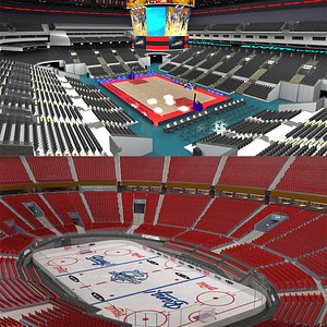 Ice Hockey Arena and Basketball Arena 3D model
