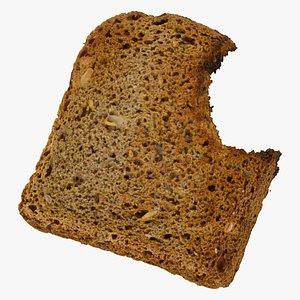 bread toast dark 01 3D model