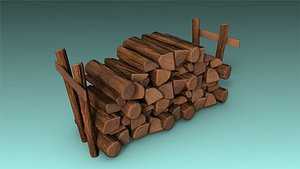 3D low-poly firewood
