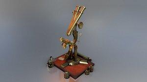 british old microscope 3D