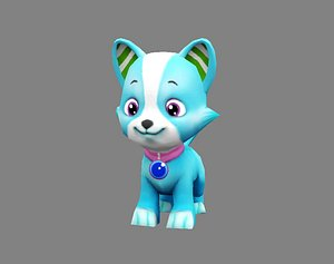 Cartoon puppy - blue male dog - Pet dog 3D model