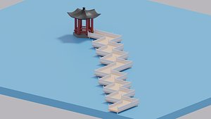 3D Cartoon Chinese Nine-turn bridge and Pavilion model