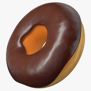 Cartoon Donut Chocolate Glaze PBR 3D