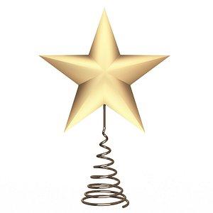 Gold Star Tree Topper 3D model