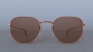 3D Sunglasses Hexagonal Flat Lenses Bronze 3D Model