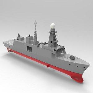 3D frigate vessel ship model