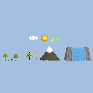 3D low poly cartoon Nature element collection