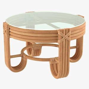 Round Rattan Coffee Table with Glass Top 3D model